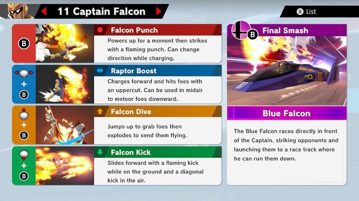 SSBU Captain Falcon Moves