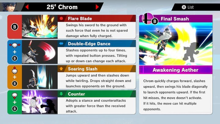SSBU Chrom Moves