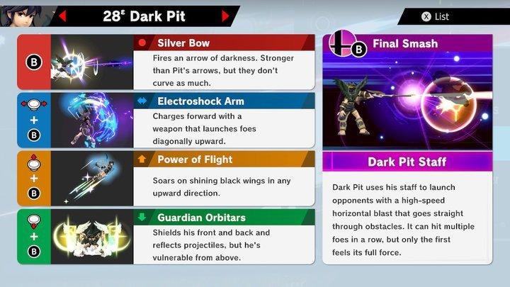 SSBU Dark Pit Moves