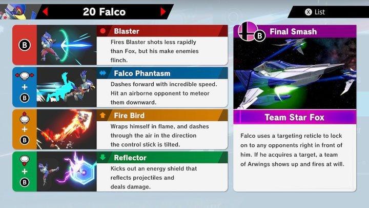 SSBU Falco Moves