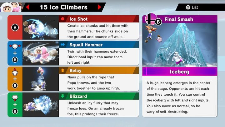 SSBU Ice Climbers Moves