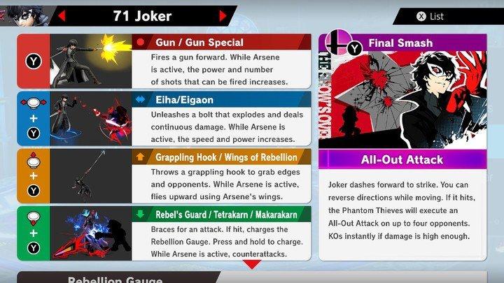 SSBU Joker Moves