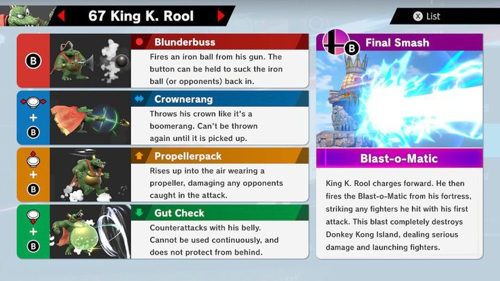 SSBU King K. Rool Moves
