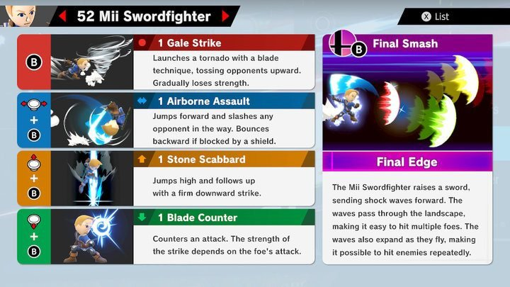 SSBU Mii Swordfighter Moves