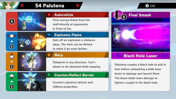 SSBU Palutena Moves