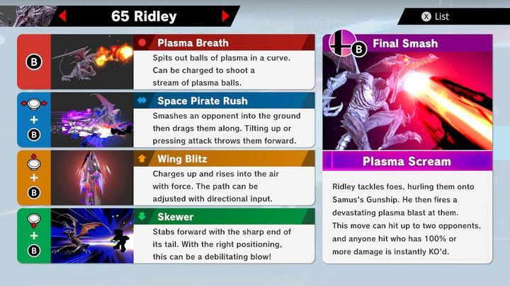 SSBU Ridley Moves