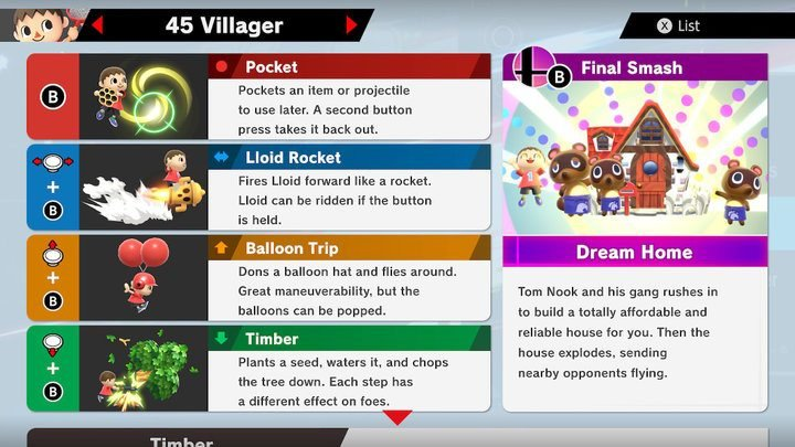 SSBU Villager Moves