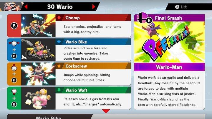 SSBU Wario Moves