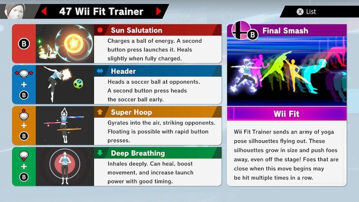SSBU Wii Fit Trainer Moves