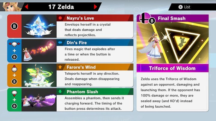 SSBU Zelda Moves