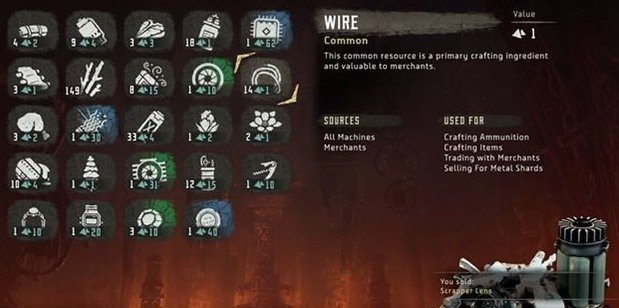 Crafting Resources Horizon zero Dawn