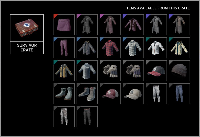 All Survivor Crate Items PUBG
