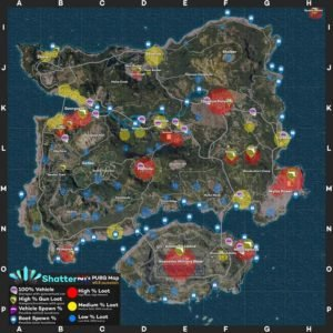 PlayerUnknown's Battlegrounds Map Gun Locations and Vehicle Spawns