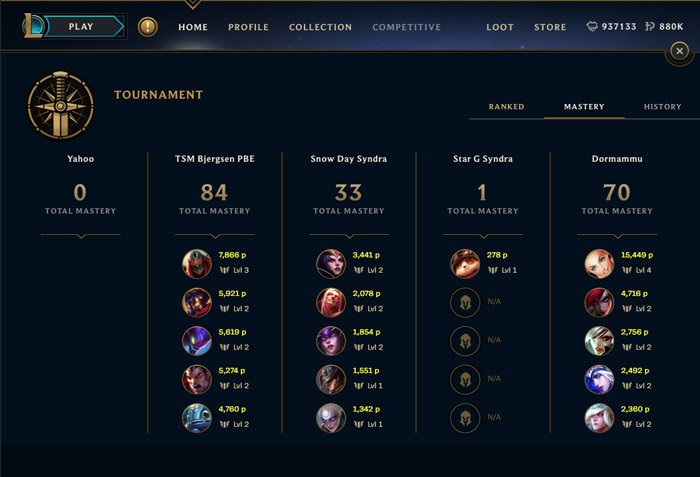 LoL Tournament KDA and champion mastery