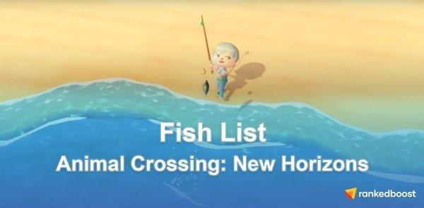 Animal Crossing New Horizons Fish List