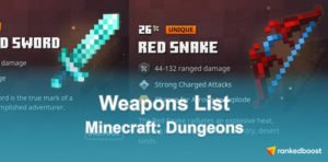 Minecraft Dungeons Weapons List