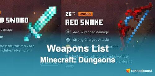 Minecraft-Dungeons-Weapons-List