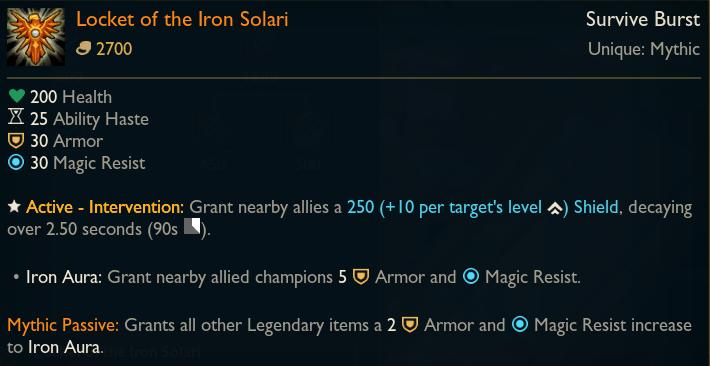 Locket of the Iron Solari Mythic Support Item