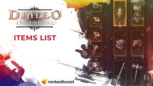 Diablo Immortal Items List